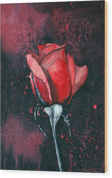 Rose In Flames Wood Print