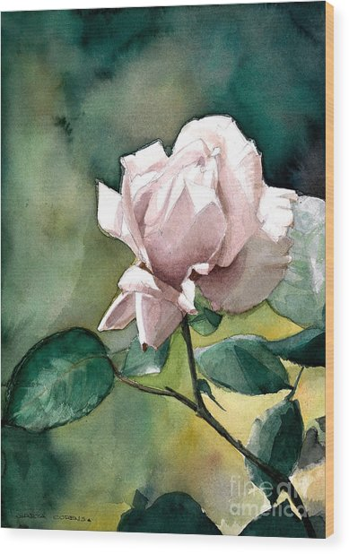 Watercolor Of A Lilac Rose  Wood Print