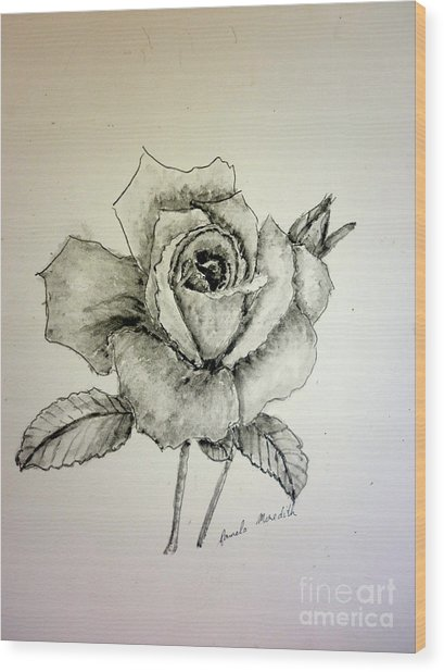 Rose In Monotone Wood Print
