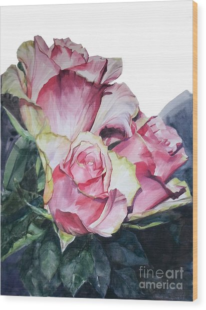 Watercolor Of A Bouquet Of Pink Roses I Call Rose Michelangelo Wood Print