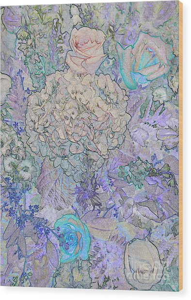 Wood Print featuring the digital art Rose Tapestry  by Mae Wertz