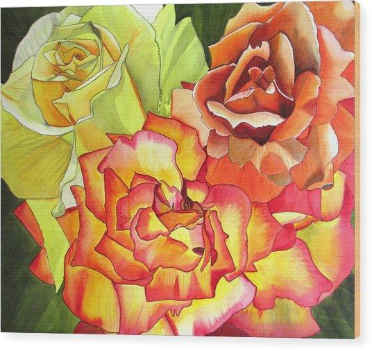 Rose Trio Wood Print by Sacha Grossel