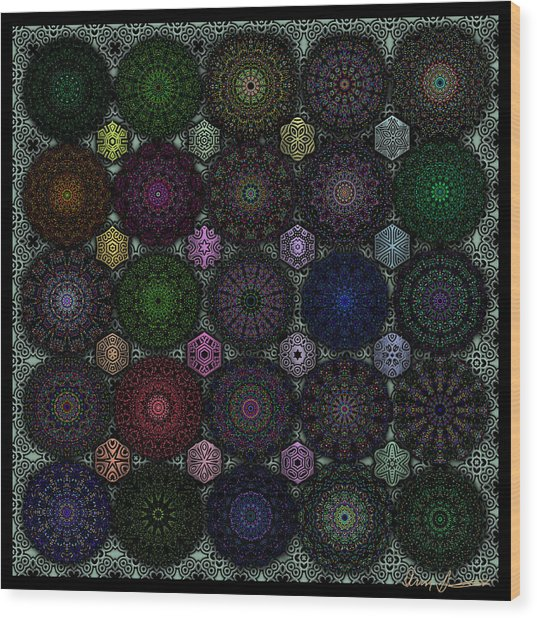 Rose Window Kaleidoscope Quilt Wood Print