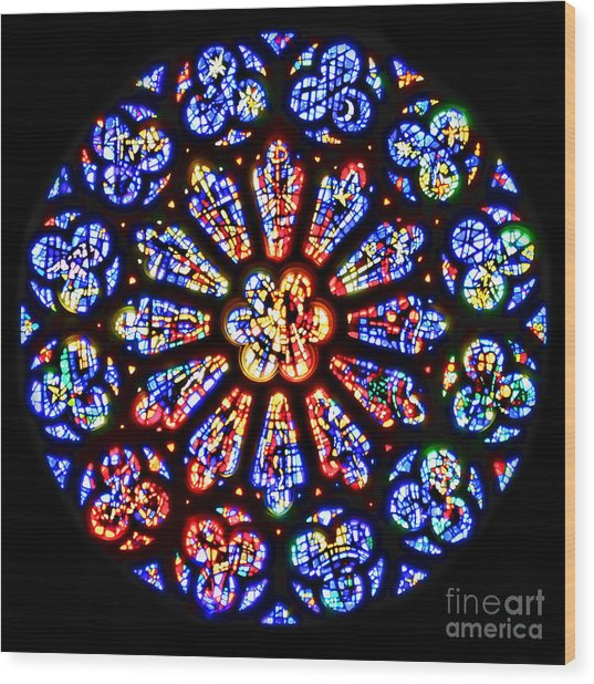 Rose Window Of Grace Cathedral By Diana Sainz Wood Print