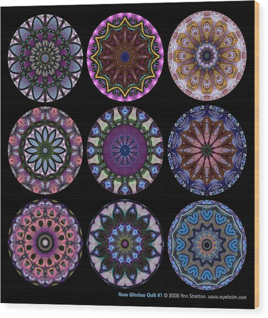 Rose Window Quilt 1 Wood Print