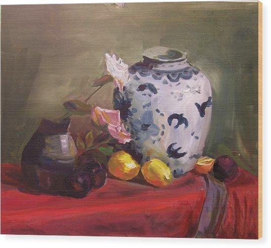 Roses And Lemons Wood Print
