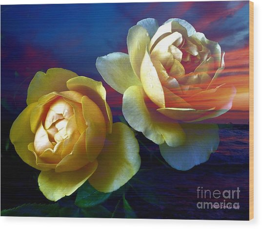 Roses By The Sea Wood Print