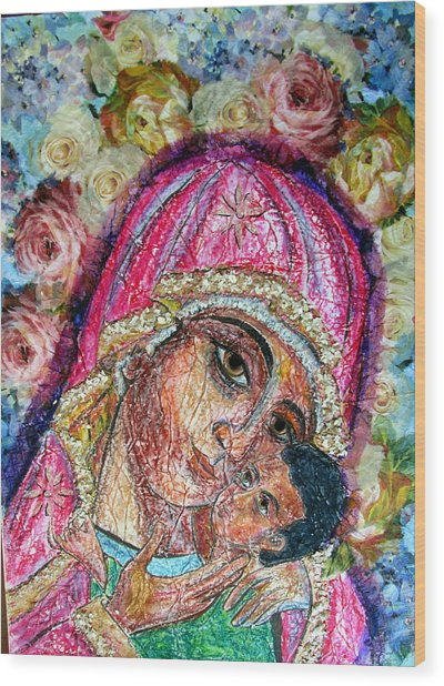 Roses For Mary Wood Print