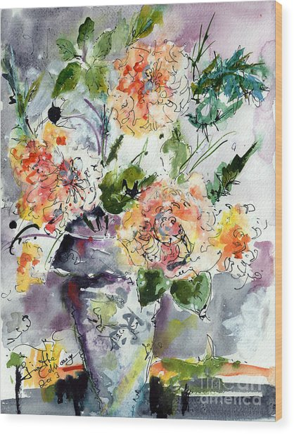 Roses Impressionists Heirloom Watercolor Still Life  Wood Print