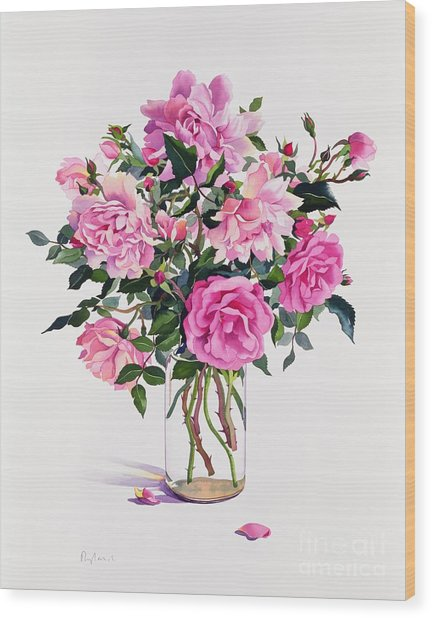 Roses In A Glass Jar  Wood Print