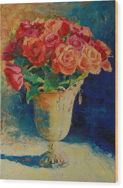 Roses In Wire Vase Wood Print