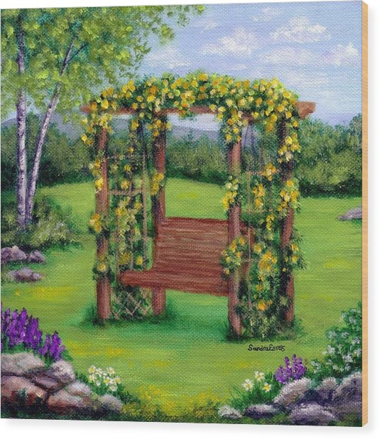 Roses On The Arbor Swing Wood Print