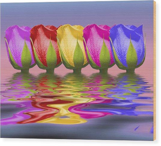 Roses Rising Wood Print