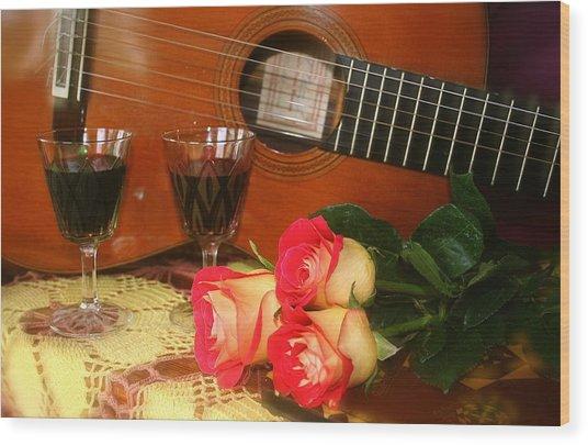 Guitar 'n Roses Wood Print