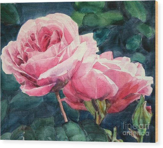 Watercolor Of Two Luscious Pink Roses Wood Print