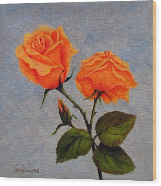 Roses With Bud Wood Print