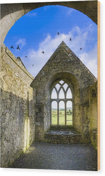 Wood Print featuring the photograph Ross Errilly Friary - Irish Monastic Ruins by Mark E Tisdale