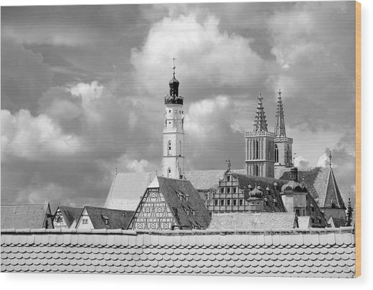 Rothenburg Towers In Black And White Wood Print