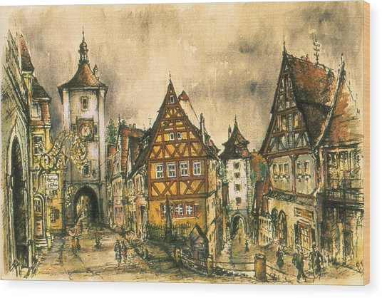 Rothenburg Bavaria Germany - Romantic Watercolor Wood Print