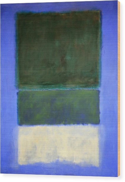 Rothko's No. 14 -- White And Greens In Blue Wood Print