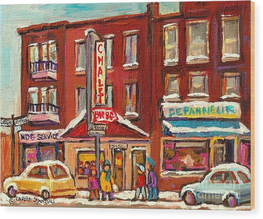 Rotisserie Le Chalet Bar B Q Sherbrooke West Montreal Winter City Scene Wood Print