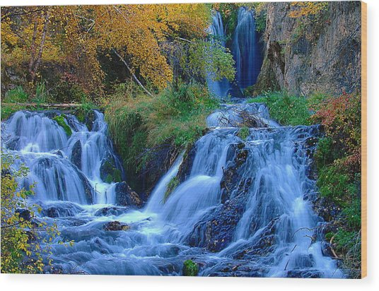 Rough Lock Falls Sd Wood Print by John Currie