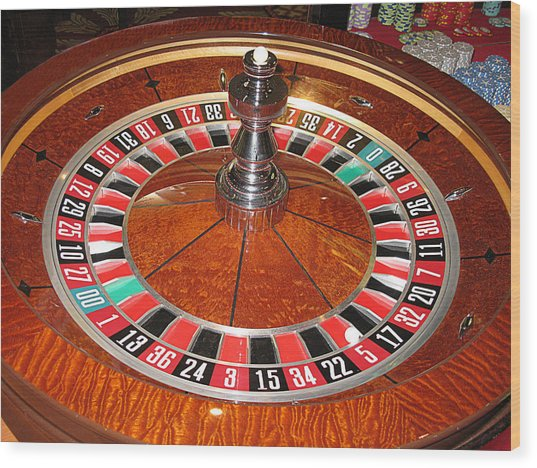 Roulette Wheel And Chips Wood Print