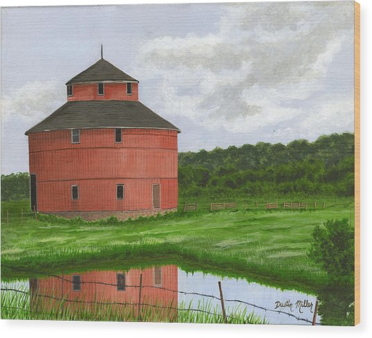 Round Barn Wood Print