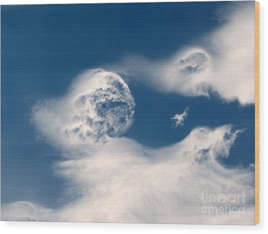 Round Clouds Wood Print