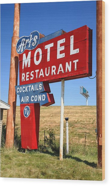 Route 66 - Art's Motel Wood Print