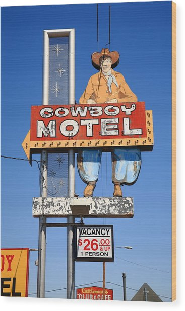 Route 66 - Cowboy Motel Wood Print