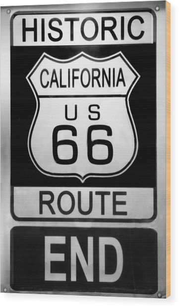 Route 66 End Wood Print
