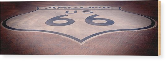 Route 66 In Brick  Wood Print