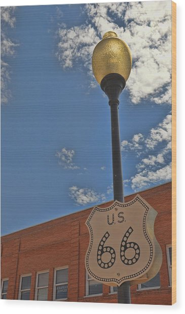Route 66 Light Post Wood Print