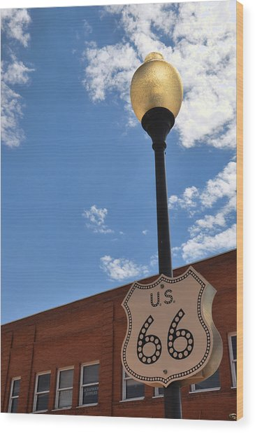 Route 66 Light Post Vivid Wood Print