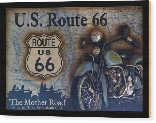 Route 66 Odell Il Gas Station Motorcycle Signage Wood Print