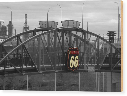 Route 66 Tulsa Sign Bw Splash Wood Print