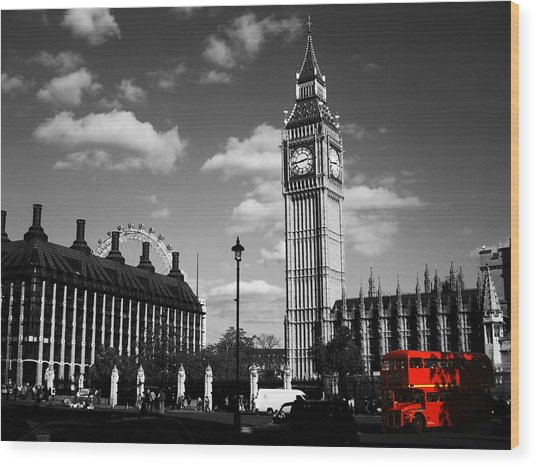 Routemaster Bus On Black And White Background Wood Print