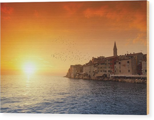 Rovinj By Sunset Wood Print by Focusstock
