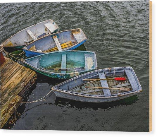Row Boats At Dock Wood Print