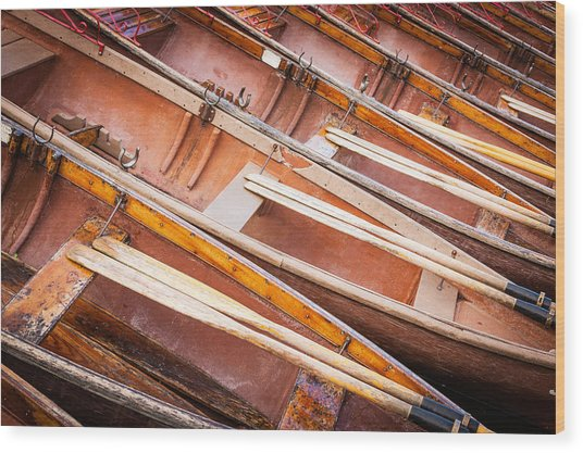 Row Boats Wood Print