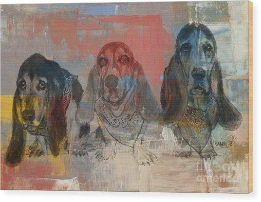 Row Of Basset Hounds Wood Print
