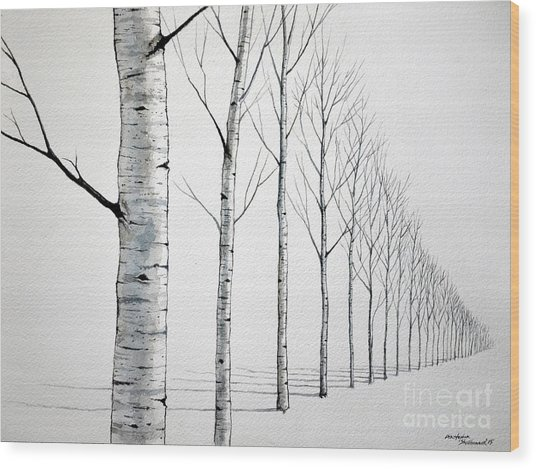 Row Of Birch Trees In The Snow Wood Print
