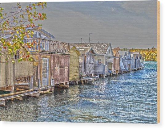 Row Of Boathouses Wood Print