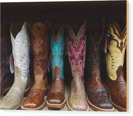 Row Of Cowboy Boots On Shelf Wood Print by Maggie Holguin / Eyeem