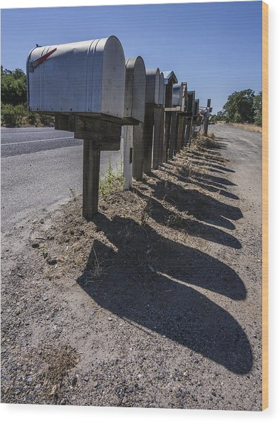 Row Of Mailboxes And Shadows Wood Print by David Litschel