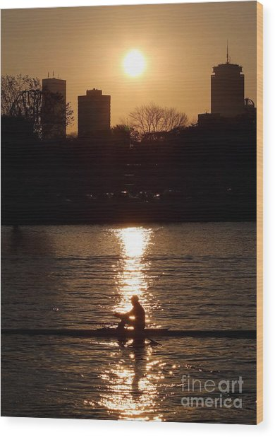 Rower Sunrise Wood Print