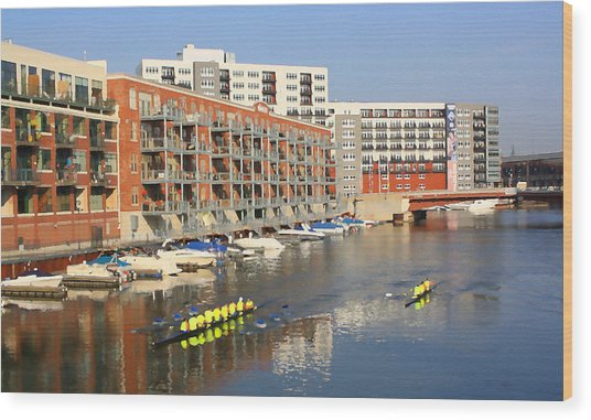 Rowers Milwaukee River 2 Wood Print by Geoff Strehlow