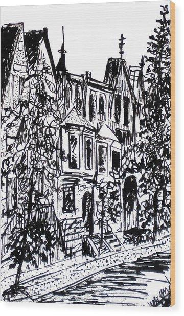 Rowhouses Wood Print