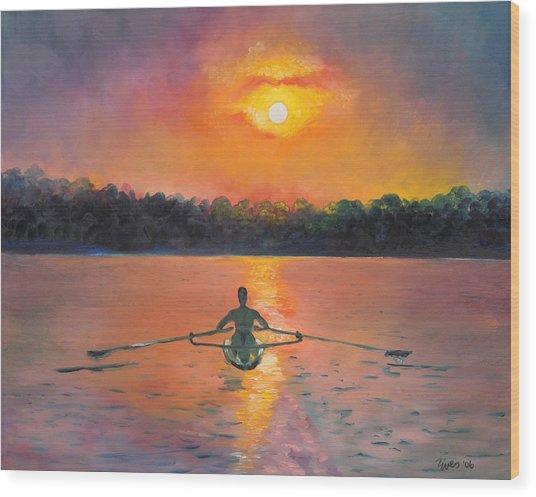 Rowing Away Wood Print